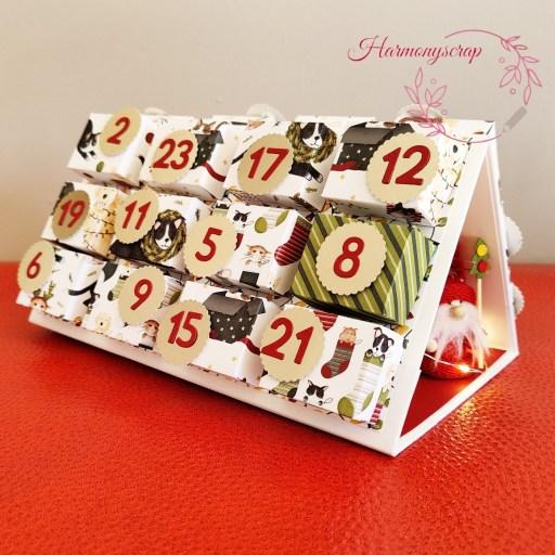 Photo du calendrier de l'Avent réalisable grâce au kit créatif d'Harmonyscrap