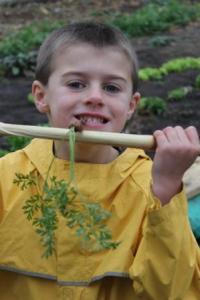 Enjoying a fresh carrot from the garden.