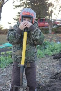 On October 14, we finished digging potatoes. And they were ready to be done digging.