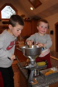 The boys were great help canning tomato juice and enjoyed using all of their grandparents and great-grandparents canning tools which makes the job a lot easier and more interesting for little boys.