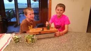 To make both recipes we pulled out this handy tooled to slice up the cucumbers. This was given to us from Steve's side of the family and something his great-grandpa had made and used with their garden produce. The boys felt very grown-up using this.