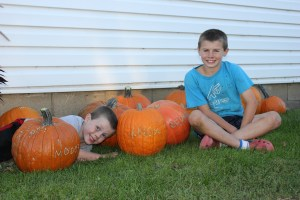 Pumpkins etched with Care for your Families. Thank you for being a member of our CSA!