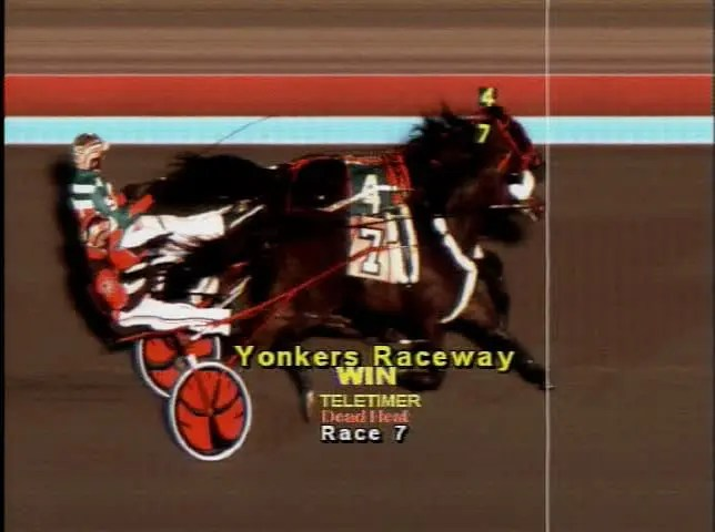 Wiggle It Jiggleit (7, Montrell Teague) and Bit Of A Legend N (4, Jordan Stratton) battled to this dead-heat finish Saturday at Yonkers in the fifth and final leg of the Levy Series | Yonkers Photo Finish