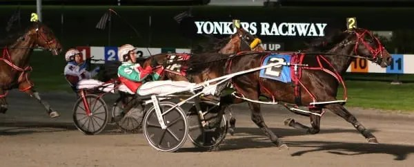 Favored pacer Bit Of A Legend N (Jordan Stratton) completed a six-race sweep of the Levy Series with this 1:51 score in the $609,000 final Saturday at Yonkers | Mike Lizzi