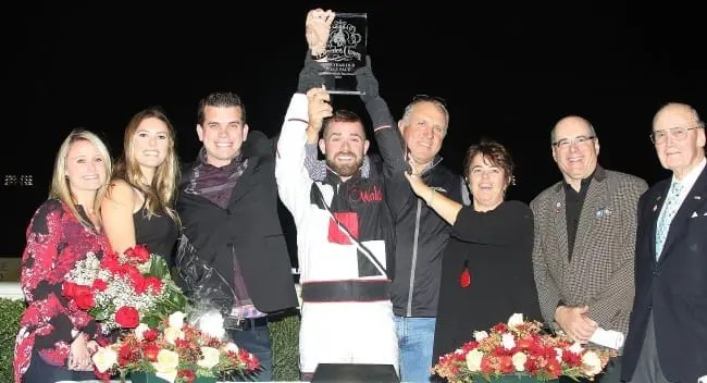 Driver Marcus Miller was a particularly excited first-time Crown winner after piloting his father Erv's trainee Someomensomewhere to victory in the two-year-old filly pace. | Michael Lisa