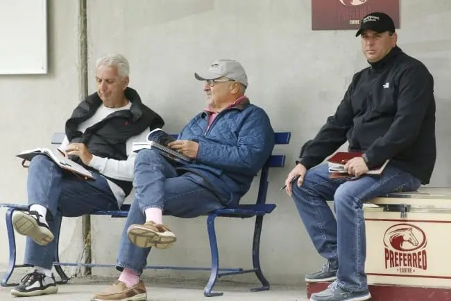 Myron Bell (centre) has teamed up with John Fodera (left), trainer Tony Alagna and others to form On The Deck Partners in the hopes of attracting new owners with the time, money and interest in trying something new. | Dave Landry