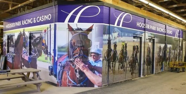 New to Hoosier Park for 2017 is this graphic wrap inside the paddock displaying racing images. | Dean Gillette
