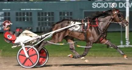 Brad Conrad   Lather Up (Montrell Teague) cruised to a 5 1/2 length win in the Ohio Sire Stakes Final in a track record 1:49.3 Saturday at Scioto Downs. The son of I'M Gorgeous is now headed to the 73rd Little Brown Jug.