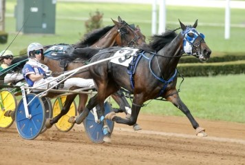 Dave Landry Atlanta (Scott Zeron) winning the 53rd Kentucky Filly Futurity with a 1:51.1 score that came two months after she defeated the boys in the Hambletonian.