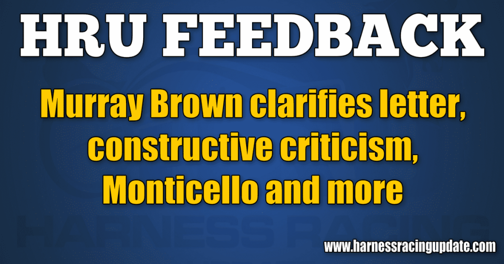 Murray Brown clarifies letter, constructive criticism, Monticello and more