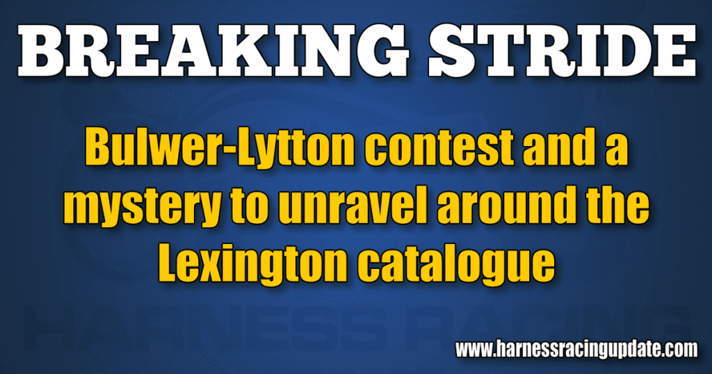 Bulwer-Lytton contest and a mystery to unravel around the Lexington catalogue