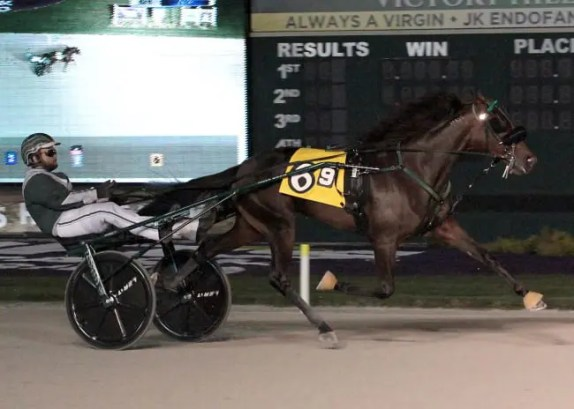 Linscott Photography | May Baby (James Yoder) winning an Indiana Sires Stakes event on Sept. 10 at Harrah's Hoosier Park.