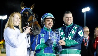Dave Landry _ Reflect With Me (with caretaker Rebecca Rose) gave driver Andrew McCarthy and trainer Tony Alagna back-to-back Breeders Crown victories on the card.