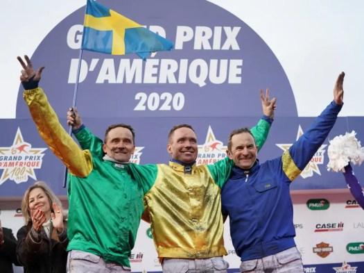Gerard Forni | The drivers that hit the podium were (from left): Alexandre Abrivard (second with Davidson du Pont), Björn Goop (the winner with Face Time Bourbon) and Jean-Michel Bazire (third driving Belina Josselyn and also the trainer of Davidson du Pont).