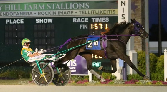 Dean Gillette | Hotel Whiskey (Trace Tetrick) winning her opening-round test of the Mya Tri during re-opening week at Harrah's Hoosier Park.