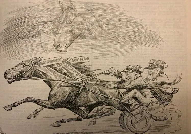This cartoon by Robert Dickey honors the winner of the first Hambletonian as the great Hambletonian himself, along with his owner WIlliam Rysdyk, look down from heaven.