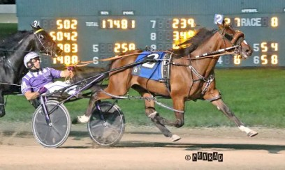 Brad Conrad | Charlie May (Brett Miller) captured the freshman colt pace in 1:50.2. The winning time established a new national season's record and Scioto track mark for freshman gelded pacers.