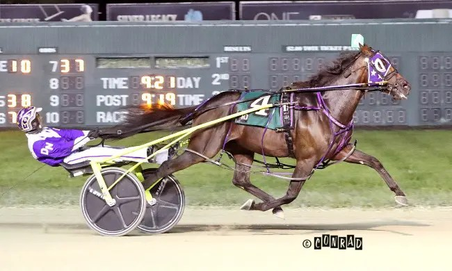 Brad Conrad | Ocean Rock (Dan Noble) won the 3-year-old colt pace final in 1:49.4.