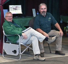 Claus Andersen | Winbak Farms' Joe Thomson (left) and Jimmy Ladwig at the 2019 London Selected Yearling Sale.
