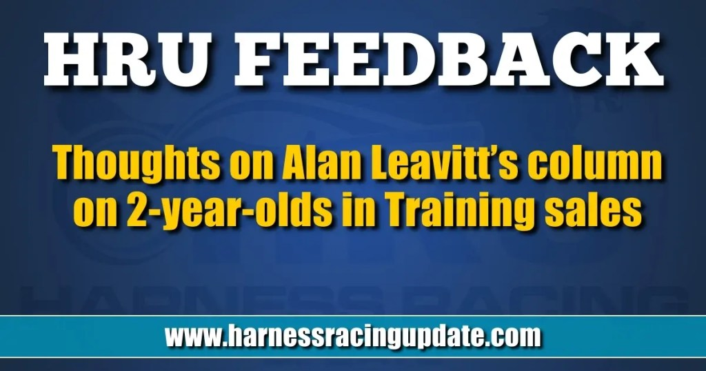 Thoughts on Alan Leavitt's column on 2-year-olds in Training sales