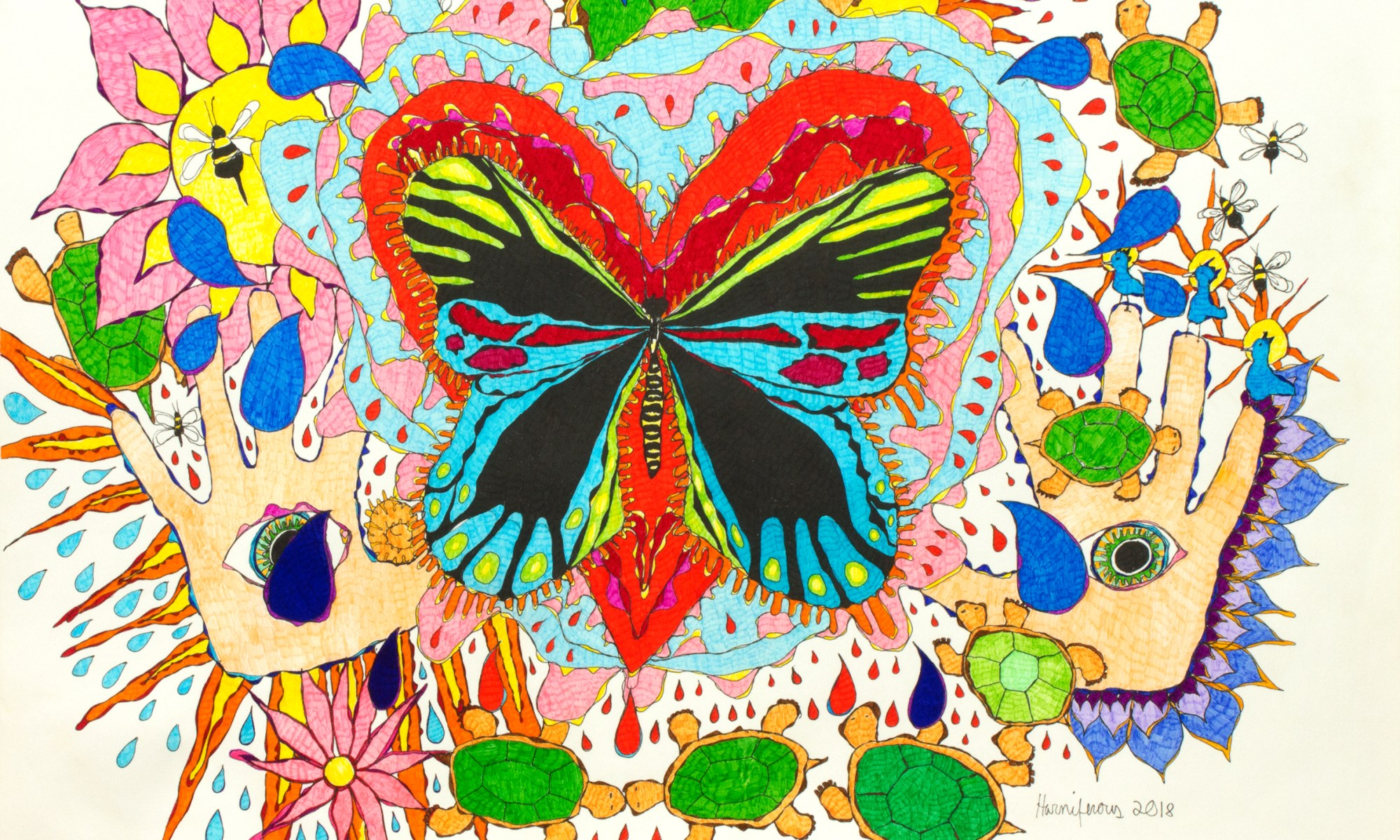 Meditative/contemplative drawing of butterfly, heart, healing hands, turtles, flowers