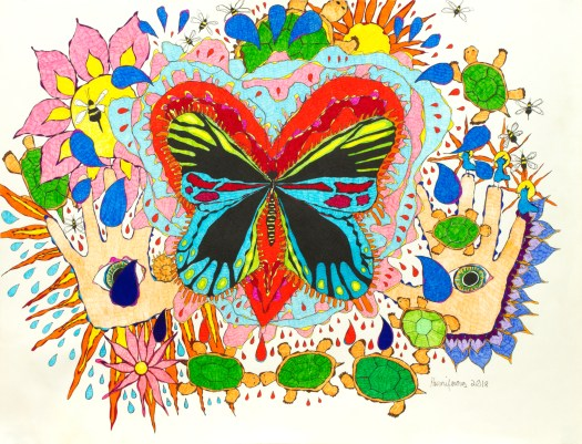 A meditative, contemplative, intuitive drawing about compassion, boundaries, intuition, truth, and freedom