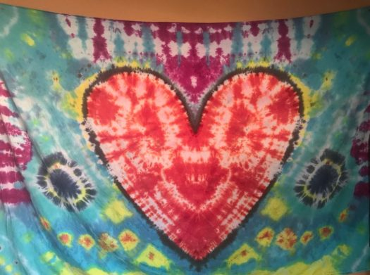 "Handmade Heart Tapestry on 70"" x 100"" cotton fabric using Procion Dyes"