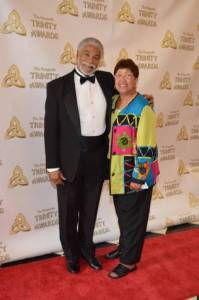 Harold Michael Harvey and Cyn Harvey on the red carpet at the Trinity Awards 2012.