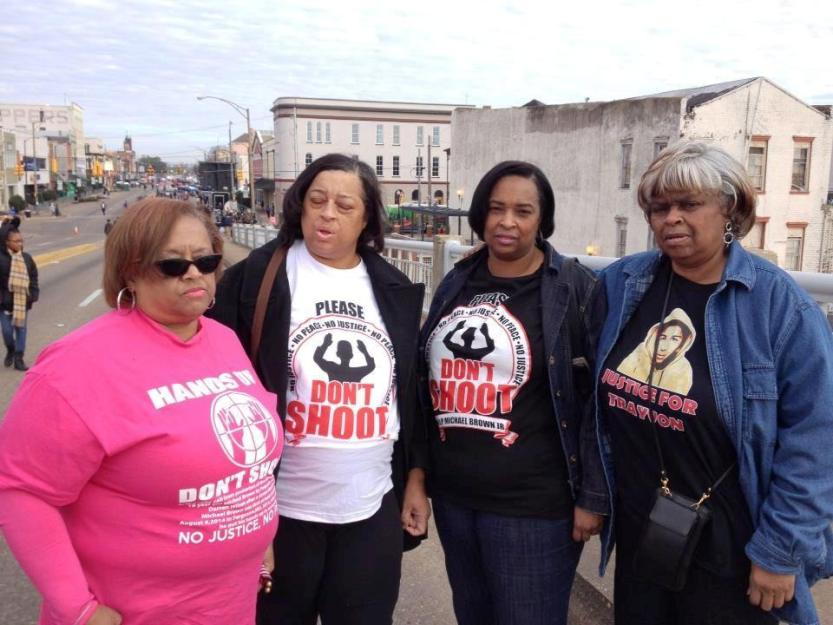 L-R Gail Delaney, Robin Thomas, Felicia Powell and Renee Brown came from Ferguson Missouri to Observe the 50th Anniversary of Bloody Sunday and to gain strength to fight the battles of Ferguson.