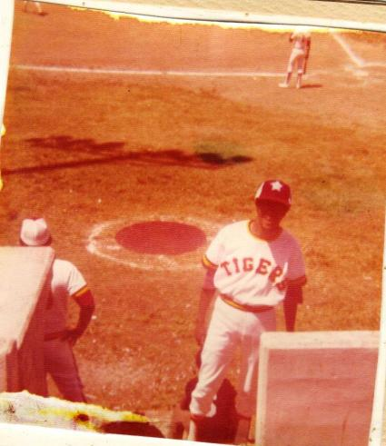 Harold Michael Harvey takes time out from the only SIAC All-Star baseball game ever played May 5, 1973. The Conference All-stars were pitted against the conference champions Tuskegee Institute. The game was won by Tuskegee 2-1 with Harvey making the last put out on a drive to right field off the bat of future Major League Baseball Hall of Famer Andre Dawson. Photo Credits: Rev. Captain Henry Paul Harvey