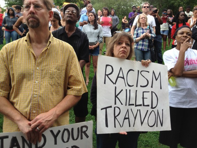 White people decrying the fact that Racism killed Trayvon Martin in an Atlanta Rally in 2012. Photo Credits: Harold Michael Harvey