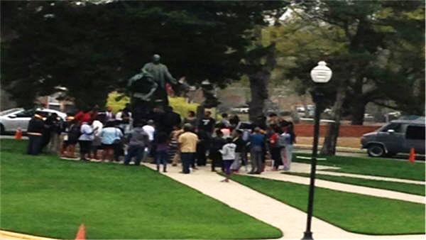 Tuskegee University holds a demonstration demanding the firing of the university President Brian Johnson. Photo Credit WSFA 12 TV