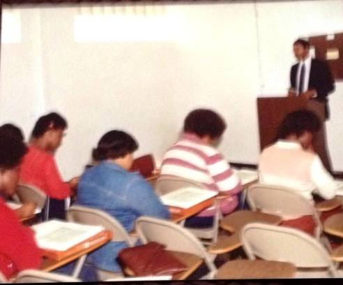 Harold Michael Harvey teaching a course in Business Law at Rutledge Business College in 1982.