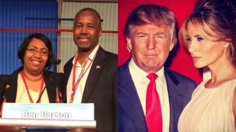 Mr. and Mrs. Ben Carson and Mr. and Mrs. Donald Trump could be the first families following the 2016 presidential election. Mrs. Carson is a classical musician and Mrs. Trump a model who once posed nude for Playboy Magazine.