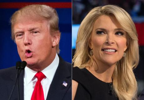 "FILE - This file photo combination made from Aug. 6, 2015, photos shows Republican presidential candidate Donald Trump, left, and Fox News Channel host and moderator Megyn Kelly during the first Republican presidential debate at the Quicken Loans Arena, in Cleveland. Trump isn't backing down from his threat to boycott Thursday night's GOP debate. Trump, who has called Kelly a ""lightweight"" and biased, told reporters at an Iowa press conference Wednesday night that he would be holding a fundraising event in Iowa at the same time as the debate to benefit veterans and wounded soldiers instead. (AP Photo/John Minchillo, File)"