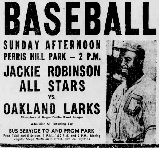 this poster announced the very first barnstorming game organized by Jackie Robinson after he entered Major League Baseball. Robinson is pictured in his Kansas City Monarch uniform from his days in the Negro Leagues. Photo Credit: baseballhistorydaily.com