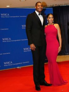 Some more of Larry Wilmore's endearing people at the White House Correspondent's Dinner, Carmelo Anthony and his wife Lala Anthony Getty Images
