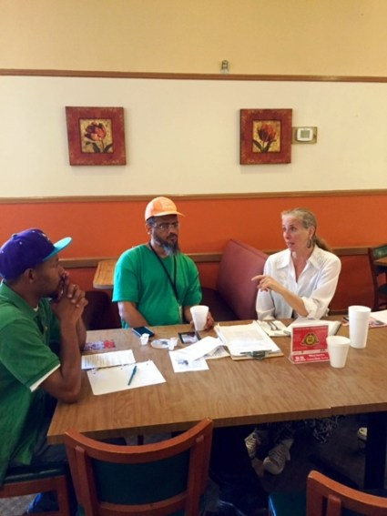 Members of the Georgia Green Party makes plans for a visit by Presidential hopeful Jill Stein on June 30, 2016. From left to right, Jerome Taylor, Victor Love and Carrie Williams. Photo Credits: (c) 2016 Harold Michael Harvey