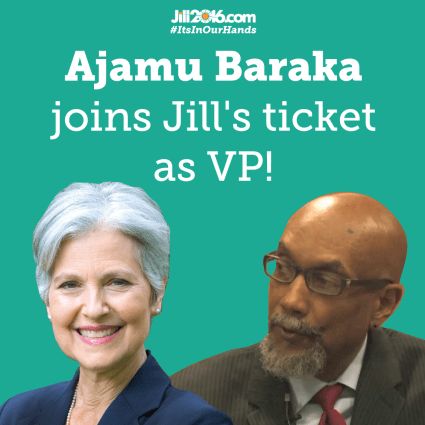 Jill Stein pictured here with her VP pick Ajamu Baraka, released her 2015 income tax return one week after securing the Green Party Nomination in Houston, Texas, August 6, 2016 Photo: Courtesy of Jill Stein 2016 Campaign