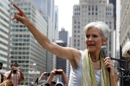 Dr. Jill Stein, presumptive Green Party presidential nominee, speaks at a rally in Philadelphia, Tuesday, July 26, 2016, during the second day of the Democratic National Convention. (AP Photo/John Minchillo)