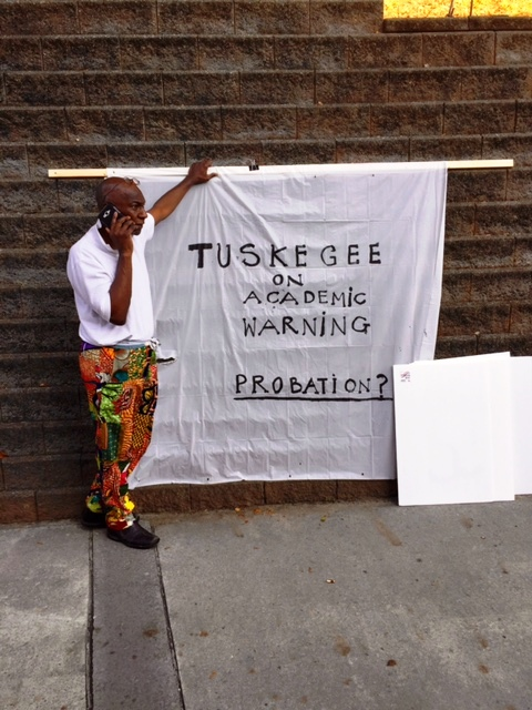 Carl Trimble brings awarness to Tuskegee University's SACS's warning status outside of football game between Tuskegee University and Clark-Atlanta University, September 3, 2016. Photo Credits: (c) 2016 Harold Michael Harvey