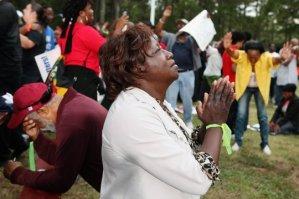 Harold Michael Harvey Praying at Troy Davis Vigi.