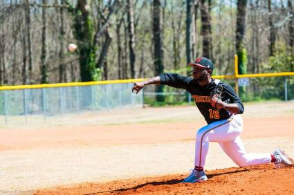 Jordyn Thomas pitched the front end of Tuskegee's double-hitter against Morehouse College and came away with the win.