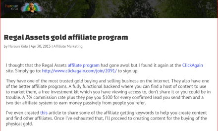 Regal Assets Gold Affiliate Program