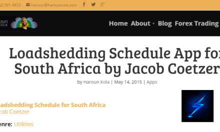 Loadshedding Schedule App for South Africa by Jacob Coetzer