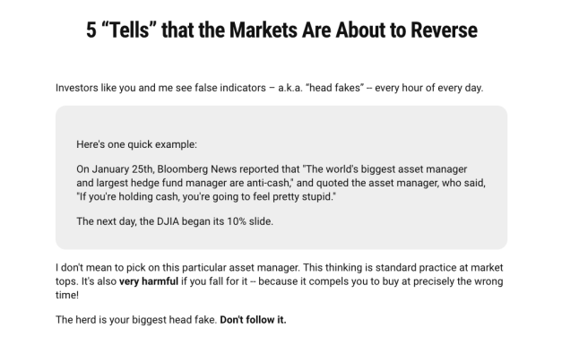 "New free report: 5 ""Tells"" that the Markets Are About to Reverse"