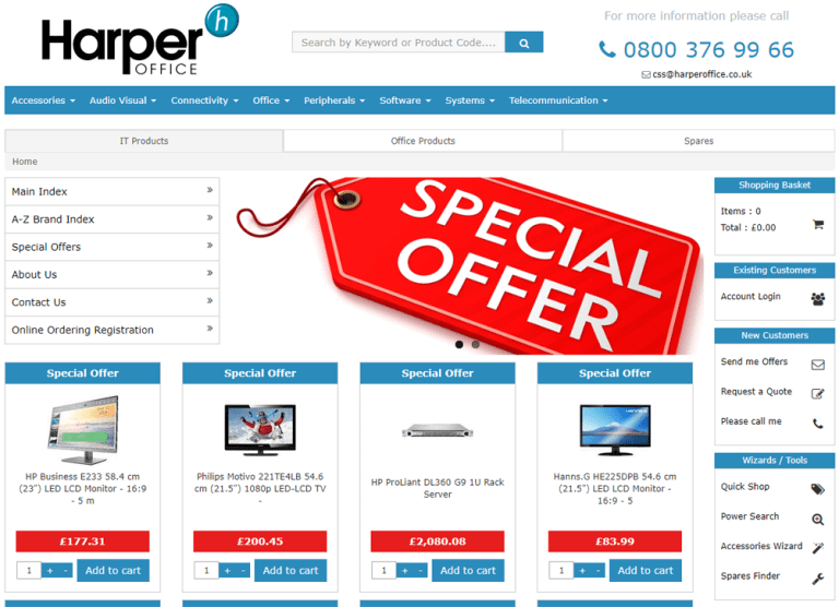 External link to https://it.harperoffice.co.uk webstores for laptops and technology