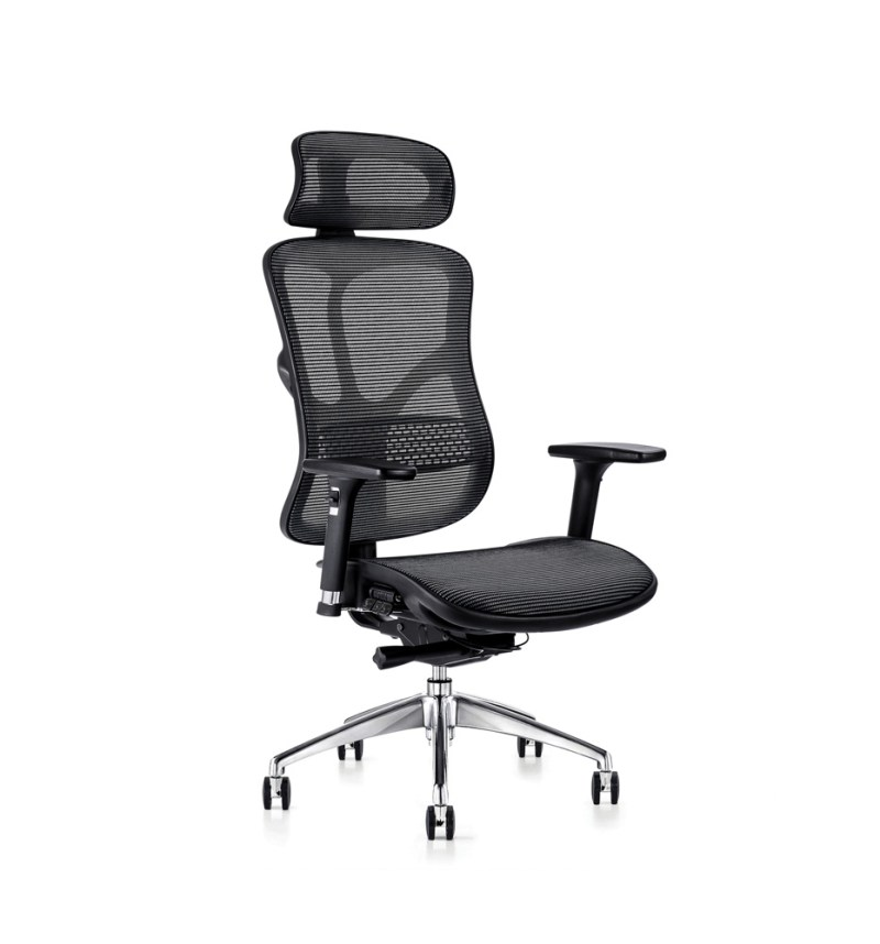 F94 ergonomic chair with mesh seat and executive headrest