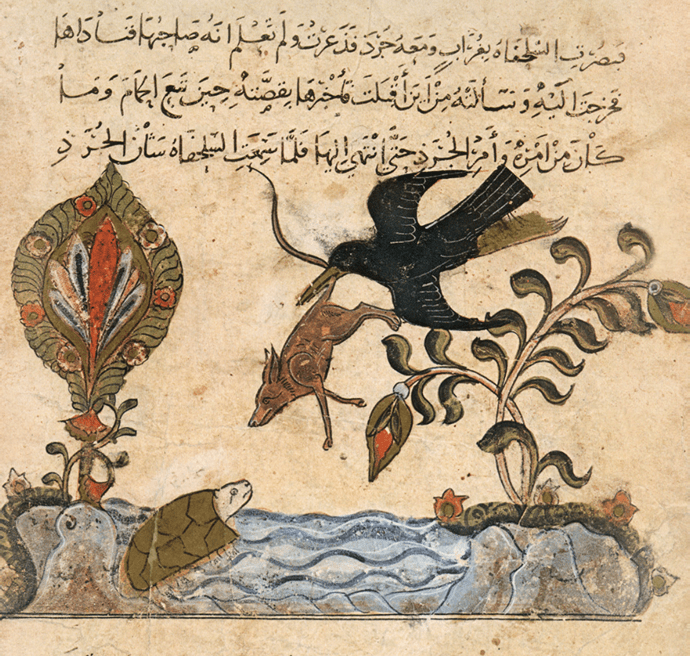 A miniature of the crow, the turtle, the rat, and the gazelle, characters from Kalila wa Dimna, a collection of Arabic fables, thirteenth century © PVDE/Bridgeman Images