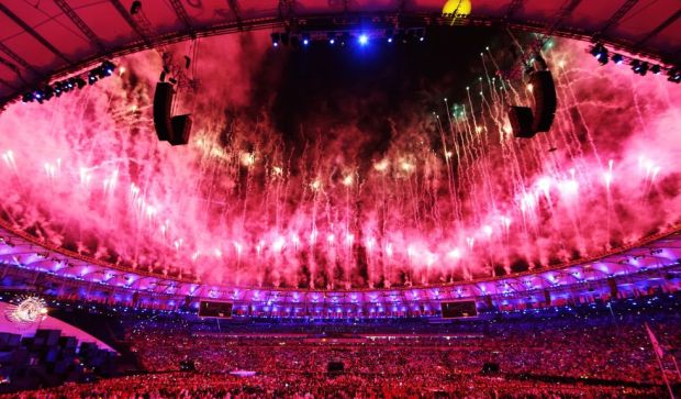 Opening ceremony: Fireworks over the Maracana Stadium.